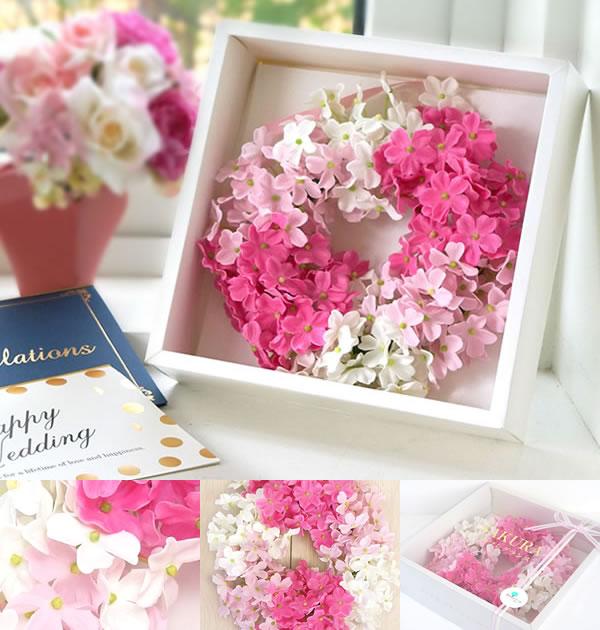 >ピンクのグラデーションが可愛い日本ならではのSAKURAリースソープフラワー電報