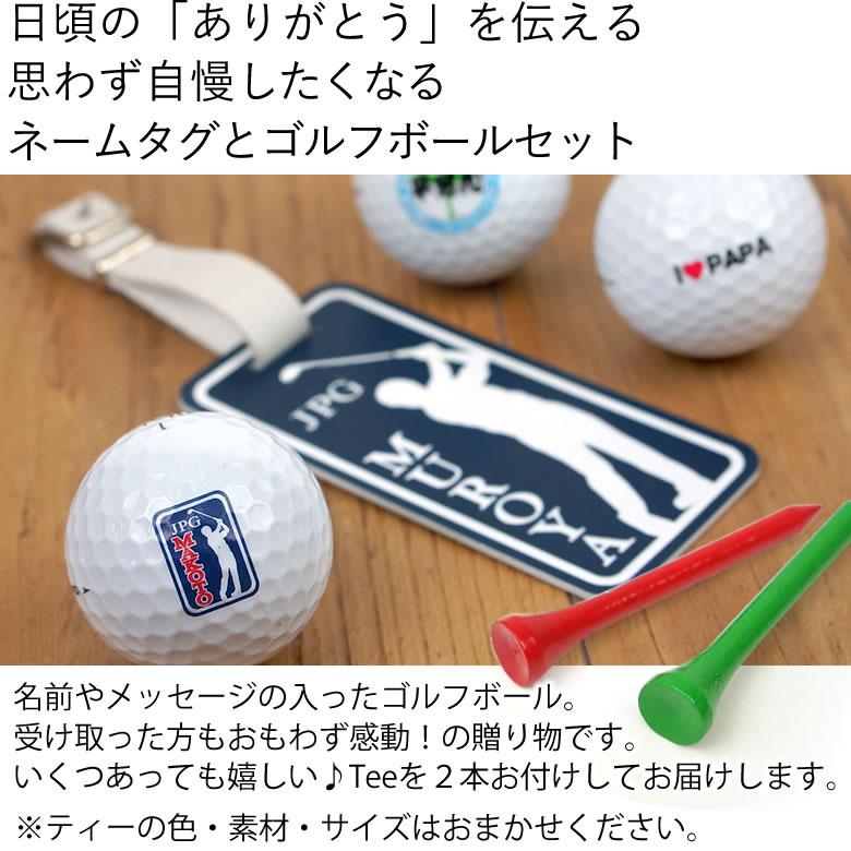 世界でひとつの名入れゴルフボール(6個)&ネームタグギフトセット
